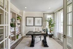 French doors + built-in shelving Corporate Office Design, Modern Office Design, Office Interior Design, Office Interiors, Interior Decorating, Commercial Office Design, Dream House Plans, Model Homes, Home Buying