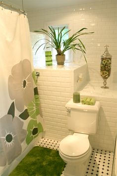 Green & White bathroom.Kind of a spa feel. Thinking of doing this color for my bathroom redo.
