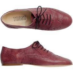 Toast Soft Brogue ($68) ❤ liked on Polyvore featuring shoes, oxfords, flats, zapatos, women, claret, wingtip shoes, lace up shoes, leather oxford shoes and flat shoes