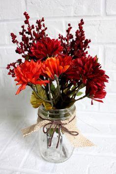 quick and easy fall decor: mason jar, burlap, yarn, and flowers!