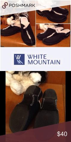 WHITE MOUNTAIN MULES Genuine Swede Leather with faux shearling. EUC. Very warm and comfy. In almost mint condition. They have been in my closet so long they might be considered vintage. Hardly worn. Size 8. white Mountain Shoes Mules & Clogs