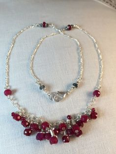 Ruby Obsession Necklace: Two Inches of Sterling Dripping with Deep, Rich Red Faceted Rubies Adorned with Silver. by CasaDeCastiza on Etsy