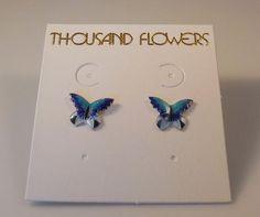 1 pair Vintage 1980/'s Cloisonne Enamel Side Facing Butterfly Goldtone Earrings