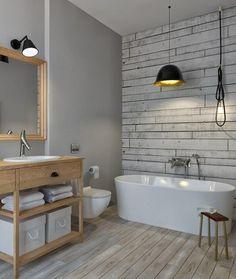 Spezielle Farbe Für Bad In Grau Und Tapete In Holzoptik