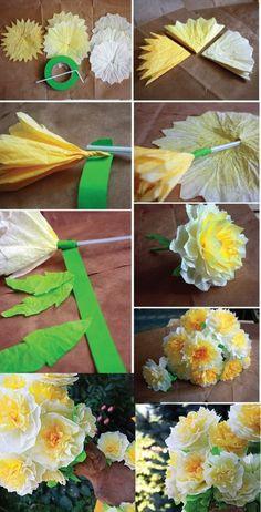 blumenstrauß, gelbe blumen aus papier basteln, grünes klebeband
