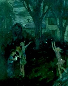 Catching Lightning Bugs, detail from July 30, 1955 New Yorker Magazine cover.
