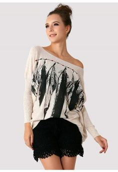 Indian Feather Print Jumper