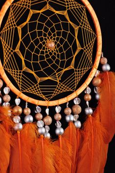 dreamcatcher - Dreamcatcher Orange Decor boho Dream Catcher Orange Dreamcatcher Dream сatcher dreamcatchers Carrot dreamcatchers wall decor handmade gift