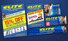 Set of flyers, posters, postcards and social media, online advertisement and promotion for Australia´s Fitness Equipment Supplier Fitness Equipment, No Equipment Workout, Online Advertising, Flyers, Banners, Postcards, Promotion, Social Media, Australia