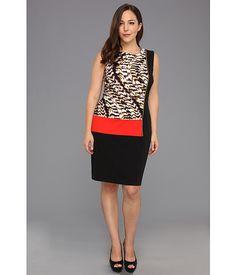 Calvin Klein Plus Size Curved Animal Seamed Block Dress Latte Multi 2 - 6pm.com