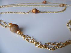collana oro con cristalli caramel