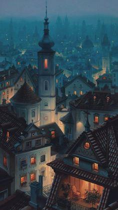 Photo: Prague, Czech Republic Prague, capital of the Czech Republic, is bisected… – Beste Winterbilder Art And Illustration, Illustration Nocturne, Prague Photos, Digital Foto, Belle Villa, Fantasy Landscape, Anime Scenery, Czech Republic, Concept Art