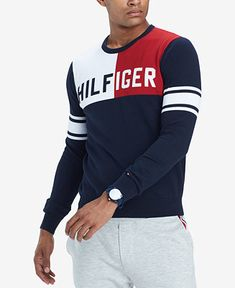 Tommy Hilfiger Men's Bedford Colorblocked Logo Sweater, Created for Macy's Sueter Tommy Hilfiger, Tommy Hilfiger Outfit, Tommy Hilfiger Tshirts, Tommy Hilfiger Sweater, Tennis Clothes, Tennis Outfits, Mens Big And Tall, Pullover, Mens Clothing Styles