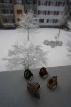 First Snow! ChaNoJa Fairy Ring collection in the make. Pagan Hippie Boho Psytrance Polymer Clay Ring Fantasy Elvish.