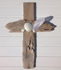 driftwood cross  beach decor  driftwood decor  by beachcombershop