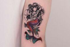 Mermaid traditional tattoo by Pretty Tattoos, Unique Tattoos, Love Tattoos, Body Art Tattoos, Small Tattoos, Small Mermaid Tattoo, Mermaid Tattoo Designs, Mermaid Tattoos, Ocean Tattoos