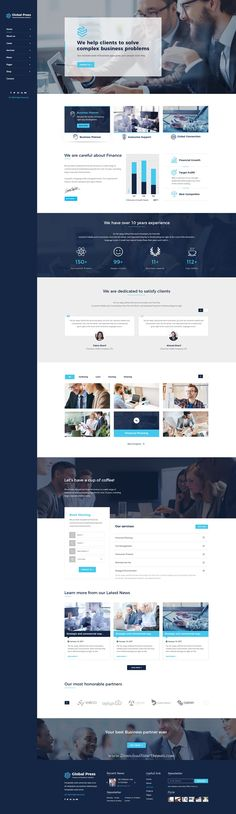 Global press is clean and modern design #Photoshop template for financial, #consulting and professional #business website with 18+ layered PSD pages download now..