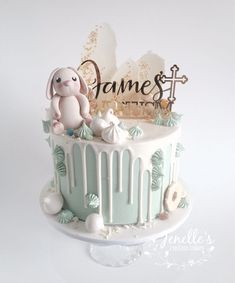 Green, white & gold drip cake. By Jenelle's Custom Cakes. Acrylic topper by Glistening Occasions.