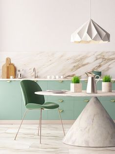 Neo mint kitchen cabinetry with marble splashback and pendant lighting Mint Kitchen, Home Decor Hacks, Home Trends, Kitchen Furniture, Colorful Interiors, Interior Inspiration, Inspiration Design, Cool Kitchens, Design Trends