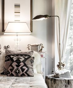 Neutrals in the bedroom - eclectic, natural, modern - Kilim pillow