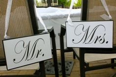Mr and Mrs  bride and groom  chair signs  head by SignsoftheSeason, $26.50