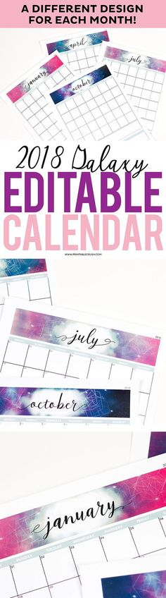 Geometric Adobe Editable 2018 Monthly Calendar