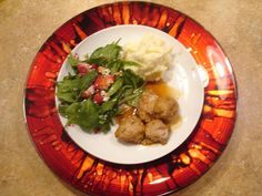 Happy, Healthy, & Domestic: Sweet and Sour Meatballs with Spinach Salad