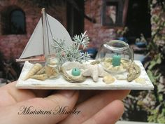Miniature Dollhouse Seaside Decoration Set On The by Minicler