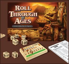 Roll Through the Ages offers players the opportunity to build a thriving civilization – in under an hour!  Collect goods, assign workers to build cities and erect monuments, and advance your civilization through cultural and scientific developments.  But don't forget to harvest enough food to feed your growing population! This addictive and strategic new game for 1-4 players, ages 8 and up is offered for Bronze Age, Late Bronze Age, and Iron Age.  Allow 45 minutes to play.