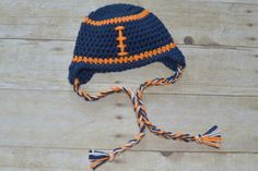 Crochet Chicago Bears Football Earflap Hat Pick your Size up to 6 Months