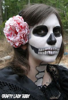 Crafty Lady Abby: Skull-A-Day 5.0 - Tutorial - Dia de la Abby #61: Anatomical Skull Makeup