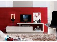 Mueble de tv blanco para salón, modelo lacado para televisión