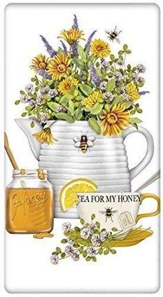"Bee Hive Teapot 100% Cotton Flour Sack Dish Tea Towel - Mary Lake Thompson 30"" x 30"""