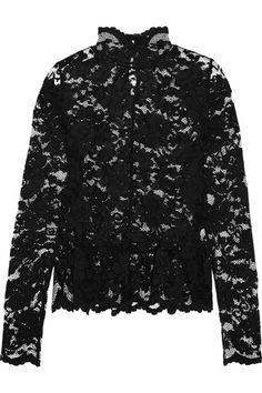 GANNI - Flynn Stretch-lace Peplum Top - Black - DK