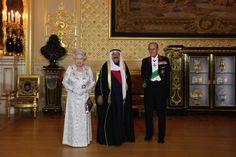 His Highness the Amir Sheikh Sabah Al-Ahmad Al-Jaber Al-Sabah of Kuwait (C) poses with Queen Elizabeth II and Prince Philip, the Duke of Edinburgh in Windsor Castle on November 27, 2012 in Windsor, England.