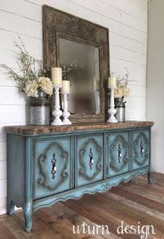 Side view of the vintage Jacobean buffet and mirror upcycled ...
