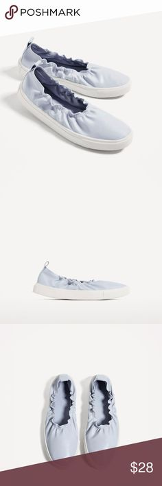 ZARA Soft Blue Sneakers - 8 Brand new.   Materials: Upper - 100% Polyurethane  Lining - 100% Polyester Sole - 100% Thermoplastic Rubber Slipsole - 100% Polyurethane   True to size.   NO TRADES.   We are a smoke and pet-free home. Zara Shoes Sneakers