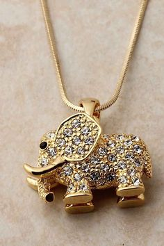 Pave Crystal Elephant Pendant | Emma Stine Jewelry Necklaces