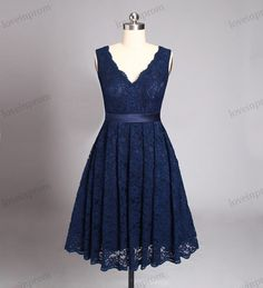 Short Lace Bridesmaid Dresses , Navy Blue Lace V Neck Dress For Bridesmaids , Knee Length Lace Bridesmaid Gown , Cheap Lace Dress YY 13 Rush order link : https://www.etsy.com/listing/204394416/rush-order-for-the-custom-made-dresses?  Fabic/color sample link: https://www.etsy.com/listing/202864583/color-sampleschiffon-fabric-swatch?ref=shop_home_active_1  Size/Measurements Chart link : https://www.etsy.com/listing&...