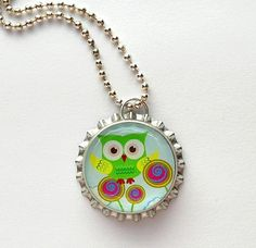 bottle cap jewelry | Lime Green Owl Bottle Cap Necklace