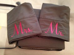 Real men sleep on pink! Love these pillowcases I did for newlyweds.
