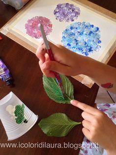 icoloridilaura: Dipingere la natura coi bambini...tutorial ortensie