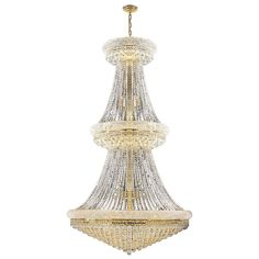 French Empire 38 light Gold Finish Crystal Regal Chandelier Large Two 2 Tier (38 Lights Chandelier), Clear (Brass)