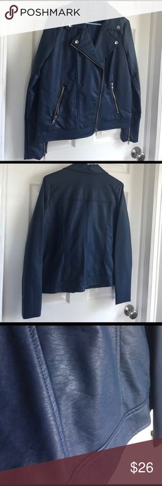 Blue Leather Jacket Lightweight faux leather jacket with silver hardware. Very light use. Forever 21 Jackets & Coats