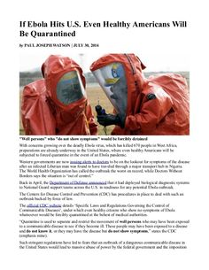 If Ebola Hits U.S. Even Healthy Americans Will Be Quarantined  INFOWARS.COM  BECAUSE THERE'S A WAR ON FOR YOUR MIND