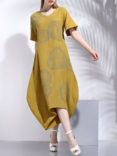#AdoreWe #StyleWe Dresses - SFEISHOW Shift V Neck Printed Casual Short Sleeve Midi Dress - AdoreWe.net