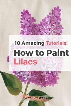 Lilac Painting, Diy Painting, Acrylic Painting Flowers, Floral Paintings, Watercolour Painting, Watercolors, Painting Flowers Tutorial, Flower Drawing Tutorials, How To Paint Flowers