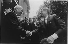 Khrushchev and Kennedy shaking hands at meeting in Vienna, June 4-5, 1961