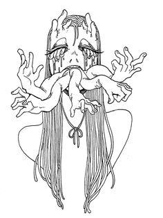 Scary Drawings, Dark Art Drawings, Art Drawings Sketches, Horror Drawing, Horror Art, Arte Grunge, Arte Sketchbook, Funky Art, Creepy Art