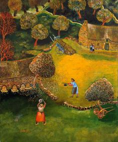 Lucien pouedras Champs, Lucien, Naive Art, Folk Art, World, Tropical, Painting, Illustrations, Country